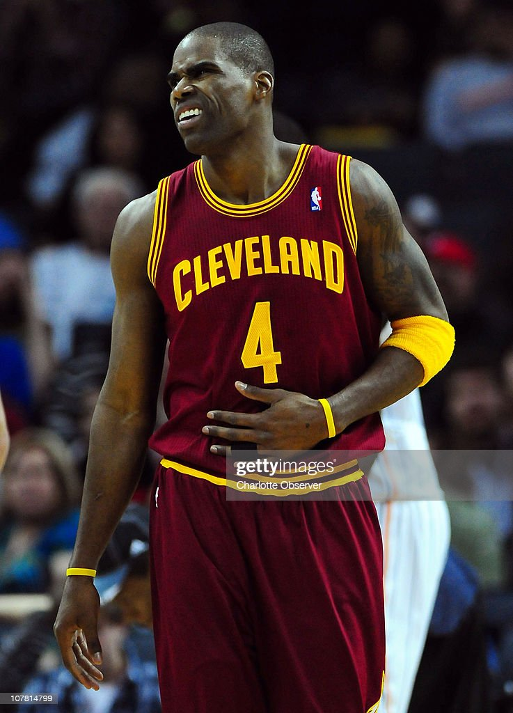 The Cleveland Cavaliers' Antawn Jamison recovers after being knocked to the floor on a shot attempt during second-half action against the Charlotte Bobcats at Time Warner Cable Arena in Charlotte, North Carolina, on Wednesday, December 29, 2010. Charlotte defeated Cleveland, 101-92.