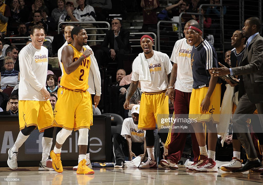 The Cleveland Cavaliers bench applauds Kyrie Irving #2 after he sank a three pointer in the game against the New Orleans Hornets at The Quicken Loans Arena on February 20, 2013 in Cleveland, Ohio.