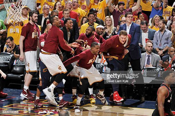 The Cleveland Cavaliers bench celebrates during the game against the Toronto Raptors in Game One of the Eastern Conference Finals during the 2016 NBA...