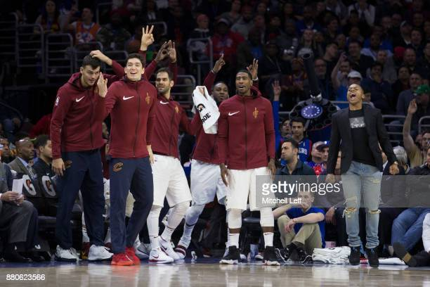 The Cleveland Cavaliers bench reacts in the fourth quarter against the Philadelphia 76ers at the Wells Fargo Center on November 27 2017 in...