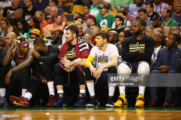 The Cleveland Cavaliers bench reacts in the second half against the Boston Celtics during Game Two of the 2017 NBA Eastern Conference Finals at TD...