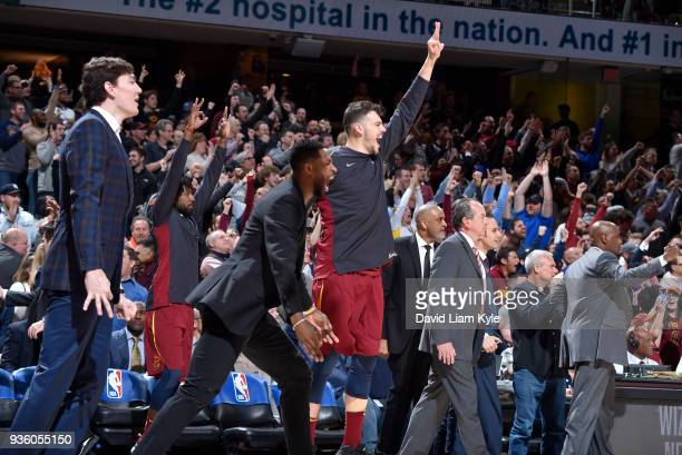 The Cleveland Cavaliers bench reacts to a play against the Toronto Raptors on March 21 2018 at Quicken Loans Arena in Cleveland Ohio NOTE TO USER...