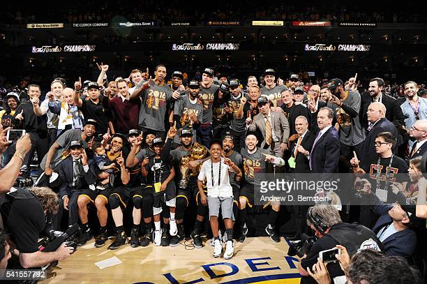 The Cleveland Cavaliers celebrate after winning Game Seven of the 2016 NBA Finals against the Golden State Warriors on June 19 2016 at ORACLE Arena...
