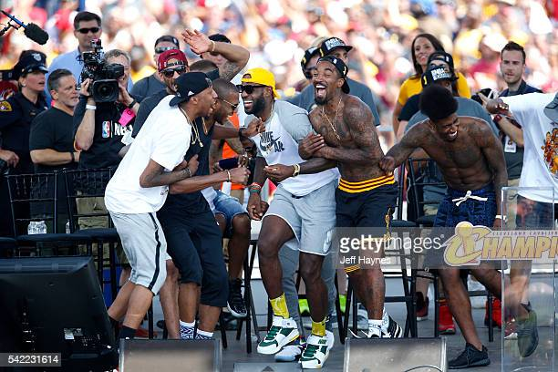 The Cleveland Cavaliers celebrate during the Cleveland Cavaliers Victory Parade And Rally on June 22 2016 in Cleveland Ohio NOTE TO USER User...