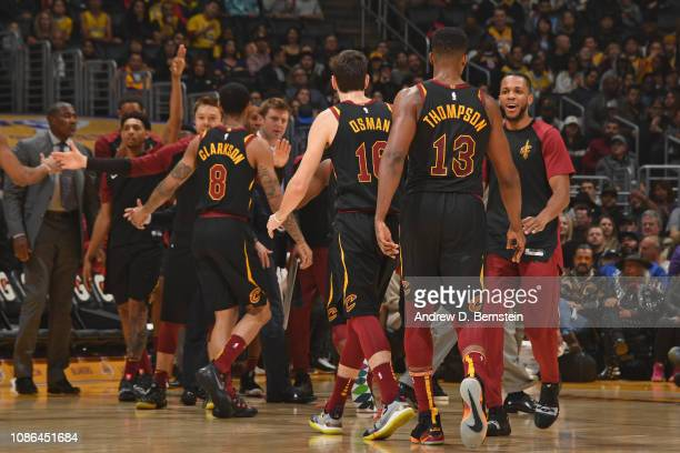 The Cleveland Cavaliers celebrate during the game against the Los Angeles Lakers on January 13 2019 at STAPLES Center in Los Angeles California NOTE...