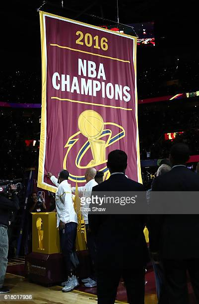 The Cleveland Cavaliers championship banner is raised before the game against the New York Knicks at Quicken Loans Arena on October 25 2016 in...