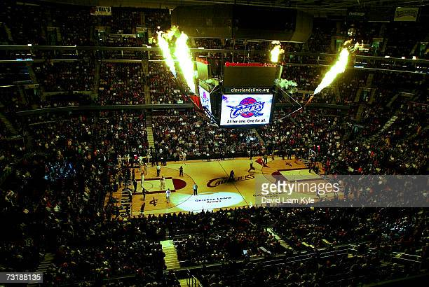 The Cleveland Cavaliers entertain the fans with pyrotechnics prior to NBA gameplay against the Charlotte Bobcats at The Quicken Loans Arena February...