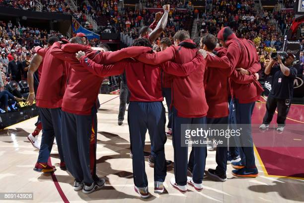 The Cleveland Cavaliers huddle before the game against the Indiana Pacers on November 1 2017 at Quicken Loans Arena in Cleveland Ohio NOTE TO USER...