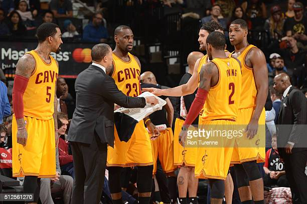 The Cleveland Cavaliers huddle during the game against the Toronto Raptors on February 26 2016 at Air Canada Centre in Toronto Canada NOTE TO USER...