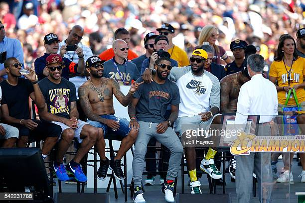 The Cleveland Cavaliers look on during the Cleveland Cavaliers Victory Parade And Rally on June 22 2016 in Cleveland Ohio NOTE TO USER User expressly...