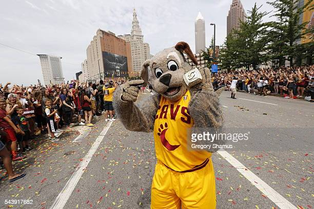 The Cleveland Cavaliers mascot, Moondog celebartes during the Cleveland Cavaliers Victory Parade And Rally on June 22, 2016 in downtown Cleveland,...