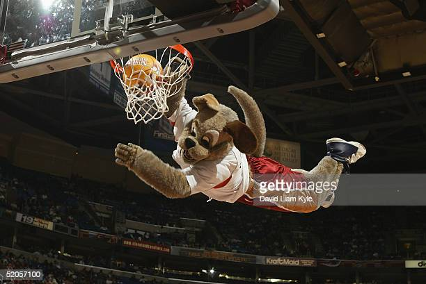 The Cleveland Cavaliers mascot Moondog dunks during the game with the Atlanta Hawks at Gund Arena on January 5 2005 in Cleveland Ohio The Cavs won...