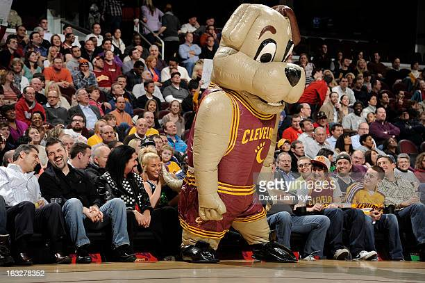 The Cleveland Cavaliers mascot Moondog entertains the fans during a break in the action against the Utah Jazz at The Quicken Loans Arena on March 6...