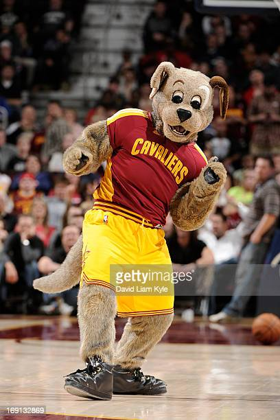 The Cleveland Cavaliers mascot Moondog performs during the game against the Orlando Magic at The Quicken Loans Arena on April 7 2013 in Cleveland...