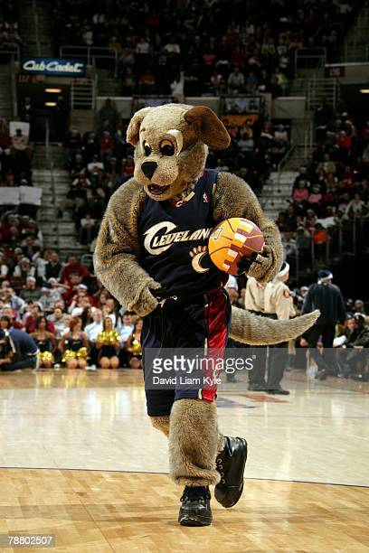 The Cleveland Cavaliers mascot Moondog performs during the game between the Miami Heat and the Cavaliers at Quicken Loans Arena on December 25 2007...