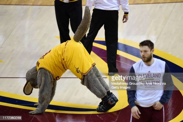 The Cleveland Cavaliers mascot Moondog stretches before the start of Game 4 of the NBA Finals at Quicken Loans Arena in Cleveland, Ohio, on Thursday,...