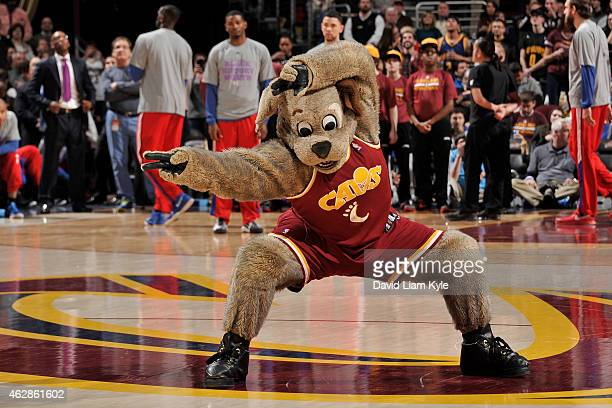 The Cleveland Cavaliers mascot performs during a game against the Los Angeles Clippers on February 5 2015 at Quicken Loans Arena in Cleveland Ohio...
