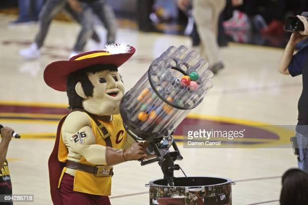 The Cleveland Cavaliers mascot shoots shirts into the stands during Game Three of the 2017 NBA Finals against the Golden State Warriors on June 7...