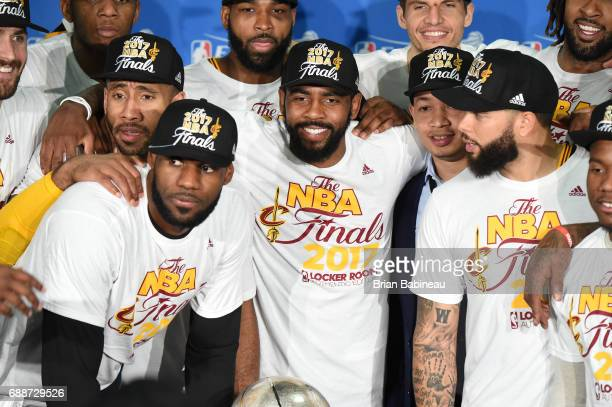 The Cleveland Cavaliers poses for a photo after defeating the Boston Celtics in Game Five of the Eastern Conference Finals of the 2017 NBA Playoffs...