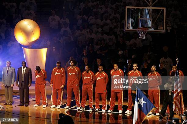 The Cleveland Cavaliers stand during the National Anthem prior to Game One of the 2007 NBA Finals against the San Antonio Spurs at the ATT Center...