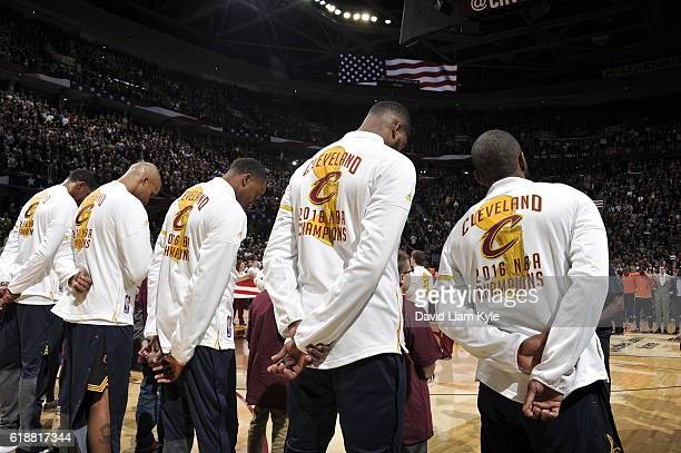 The Cleveland Cavaliers stand on the court before the game against the New York Knicks on October 25 2016 at Quicken Loans Arena in Cleveland Ohio...