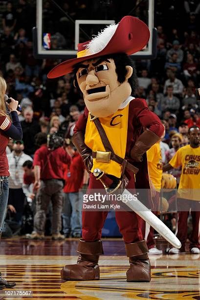 The Cleveland Cavaliers unveil their new mascot Sir CC during the first quarter of the game against the Memphis Grizzlies at The Quicken Loans Arena...