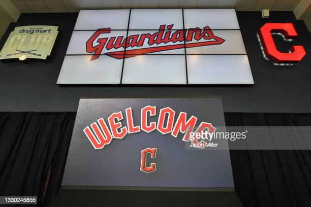 The Cleveland Indians announce their name change to the Cleveland Guardians during a press conference at Progressive Field on July 23, 2021 in...