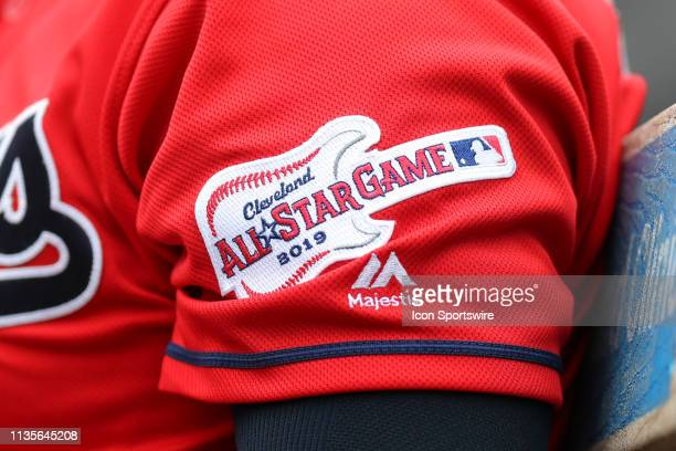 The Cleveland Indians are wearing an All Star Game on the sleeve of their jerseys for the 2019 season as seen during the Major League Baseball game...