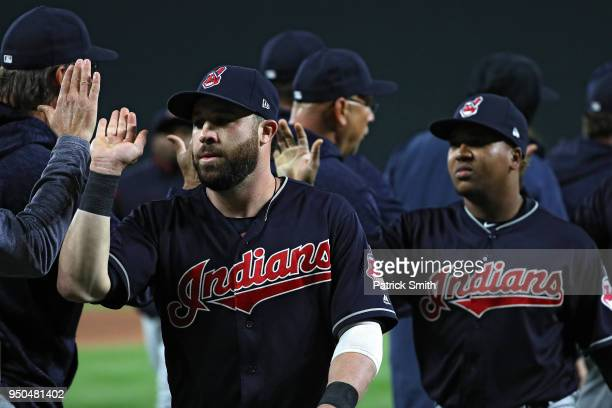 The Cleveland Indians celebrate after defeating the Baltimore Orioles 21 at Oriole Park at Camden Yards on April 23 2018 in Baltimore Maryland