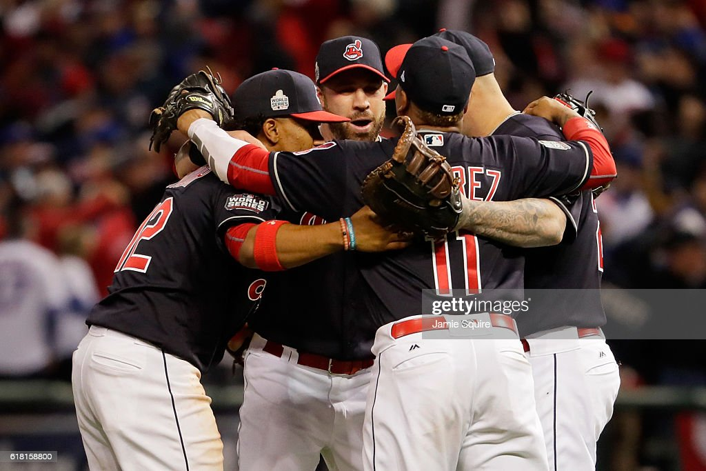 The Cleveland Indians celebrate after defeating the Chicago Cubs 6-0 in Game One of the 2016 World Series at Progressive Field on October 25, 2016 in Cleveland, Ohio.