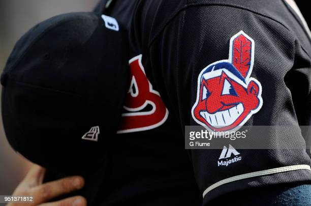The Cleveland Indians Chief Wahoo logo on their uniform before the game against the Baltimore Orioles at Oriole Park at Camden Yards on April 21 2018...