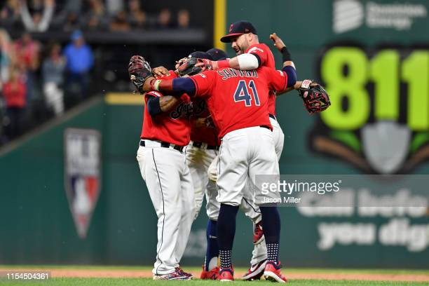 The Cleveland Indians infielders celebrate after the Indians defeated the New York Yankees at Progressive Field on June 07, 2019 in Cleveland, Ohio....