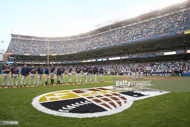 The Cleveland Indians lineup prior to the American League Division Series game three against the New York Yankees at the Yankee Stadium in the Bronx...