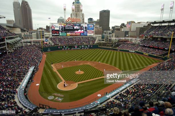 The Cleveland Indians play against the Minnesota Twins for the Indians' home opener on April 12 2004 at Jacobs Field in Cleveland Ohio Cleveland...