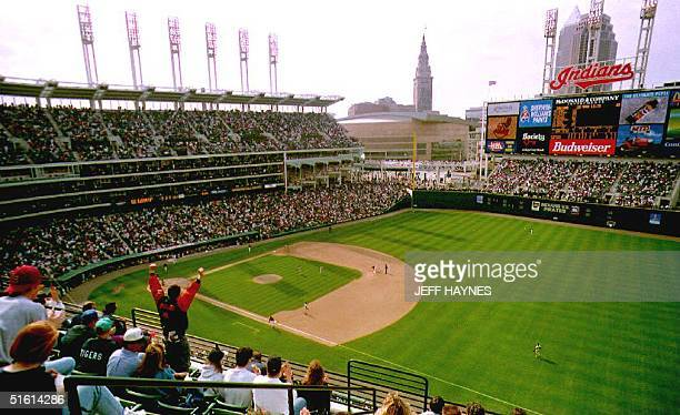 The Cleveland Indians play their first game in the new Jacobs Field ball park 02 April 1994 in Cleveland Oh against the Pittsburgh Pirates The first...