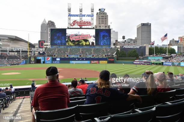 The Cleveland Indians show a video to fans announcing their name change to the Cleveland Guardians prior to the game against the Tampa Bay Rays at...
