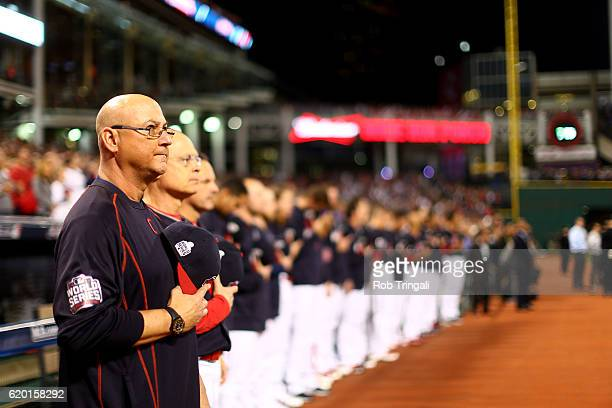 The Cleveland Indians stand during the national anthem before the start of Game 6 of the 2016 World Series against the Chicago Cubs at Progressive...