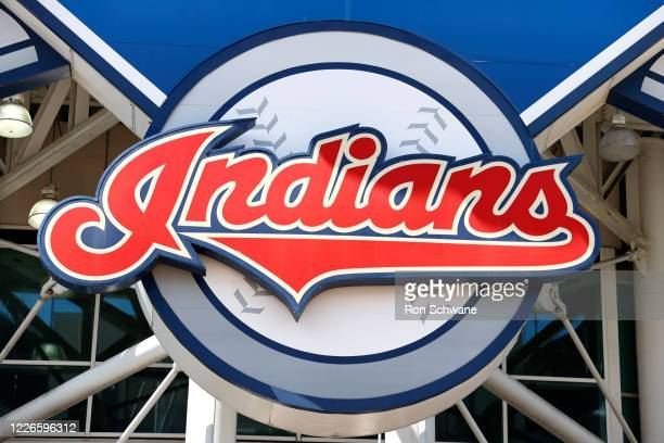 The Cleveland Indians team logo on the main sign outside Progressive Field before they play an intrasquad game during summer workouts on July 12,...