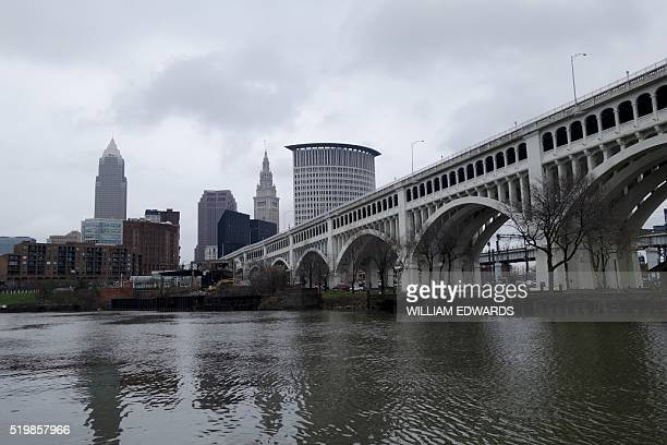 The Cleveland skyline is seen across from the Cuyahoga River in Cleveland Ohio on April 7 2016 Cleveland will host the Republican National Convention...