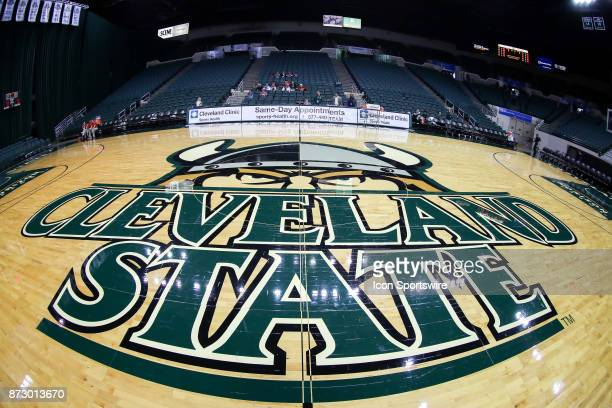 The Cleveland State logo at center court prior to the women's college basketball game between the Ball State Cardinals and Cleveland State Vikings on...