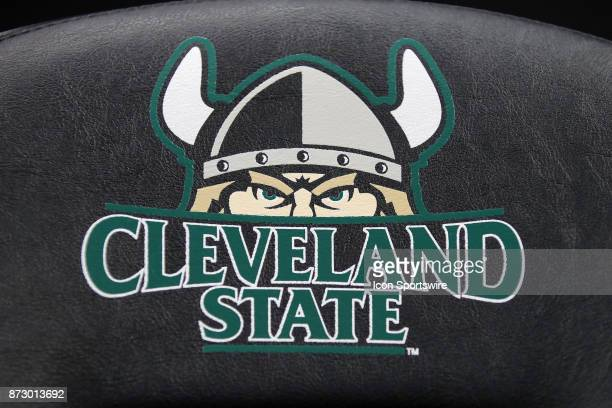 The Cleveland State logo on one of the seats on the bench prior to the women's college basketball game between the Ball State Cardinals and Cleveland...