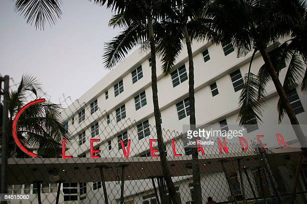 The Clevelander an Art Deco hotel is seen under renovation on the famed Ocean Drive strip on January 28 2009 in Miami Beach Florida As the economic...