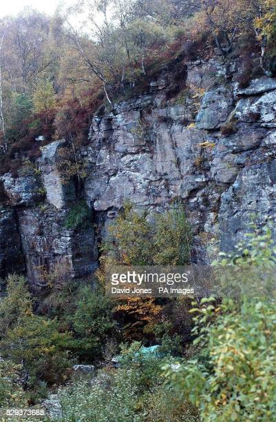 The cliff face at Swffryd near, Crumlin in South Wales, where a car veered off the road and crashed at the bottom, resulting in the death of four...