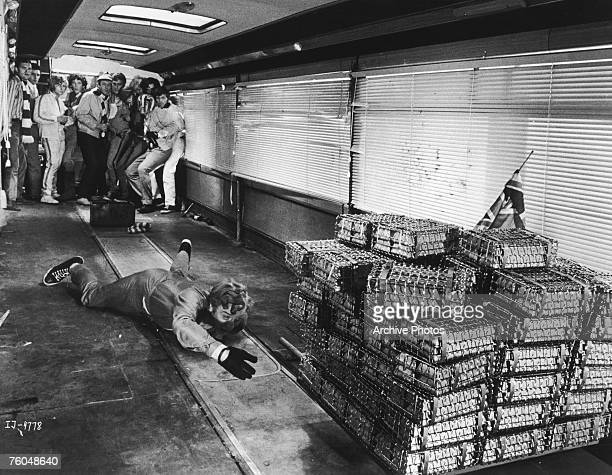 The cliffhanger ending of Paramount Pictures' 'The Italian Job' starring Michael Caine as Charlie Croker 1969