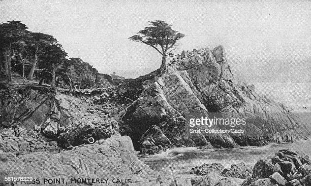The cliffs and sea coastline at Cypress Point at Monterey the Pacific shore Cypress Pont Monterey California 1943