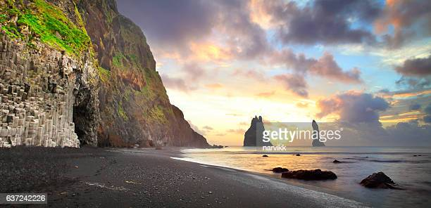 The cliffs at Vik in Iceland by sunrise