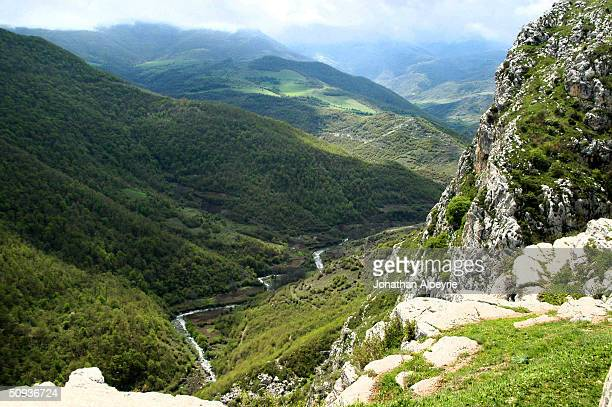 The cliffs leading to the eastern part of the town of Shushi is seen May 4, 2004 in Nagorno-Karabakh, Azerbaijan. The town was retaken by Karabasti...