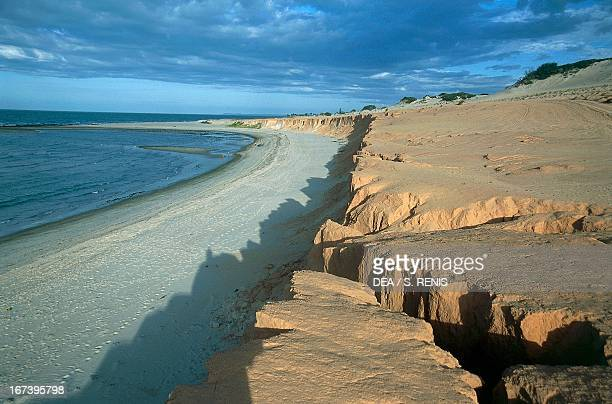 The cliffs ooverlooking Canoa Quebrada beach State of Ceara Brazil