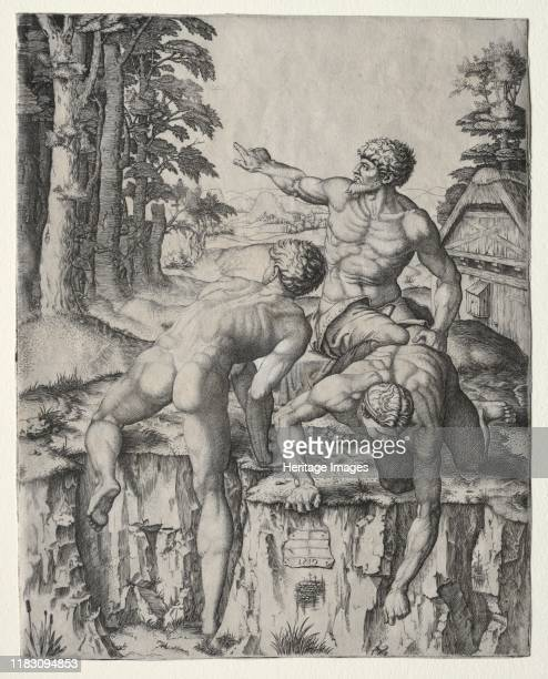 The Climbers 1510 Raimondis source for these three male figures was Michelangelos Battle of Cascina cartoona preparatory fullscale model drawing for...
