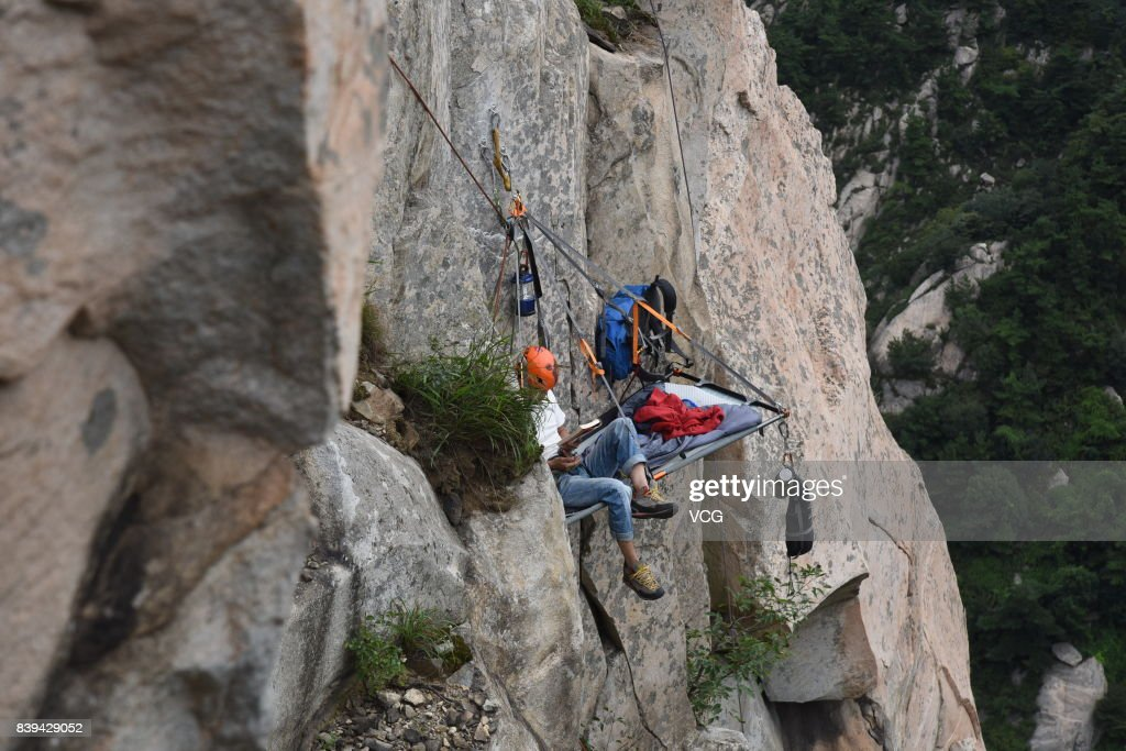 The climbersu0027 tents are seen suspending from the rock face at Yimeng Mountain on August & Tents Suspended From Rock Face Attract Campers In Linyi Photos and ...